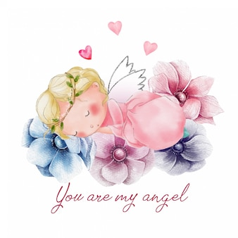 Linda tarjeta de san valentín con ángel durmiendo