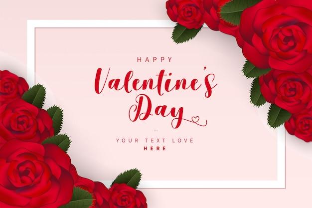 Linda tarjeta de san valentín con rosas