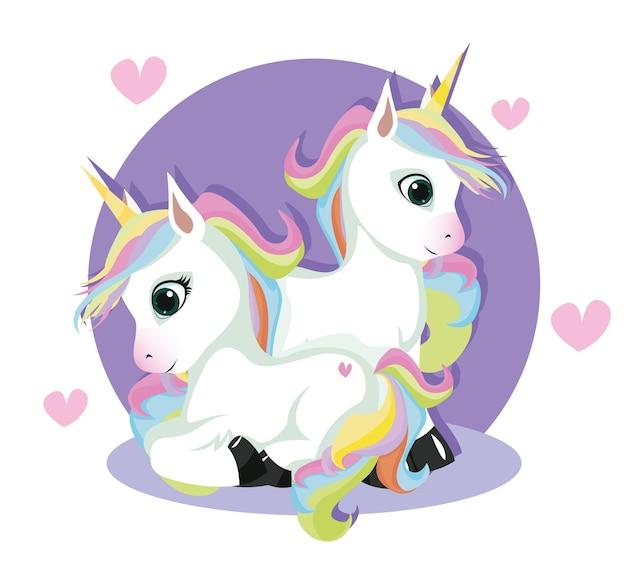 Linda tarjeta de san valentín con unicornios hadas enamorados