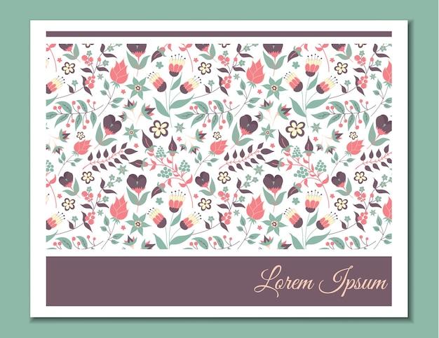 Linda tarjeta suave con estampado de flores. doodle de flores y hojas.
