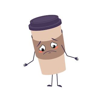 Linda taza de personaje de café con emociones tristes