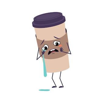 Linda taza de personaje de café con llanto y lágrimas emociones, cara, brazos y piernas.