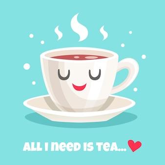 Linda taza de té negro