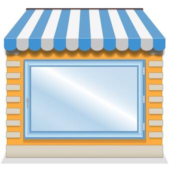 Linda tienda con toldos azules.