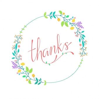 Linda tipografía de agradecimiento con guirnalda floral colorida