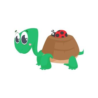 Linda tortuga cargando mariquita en concha