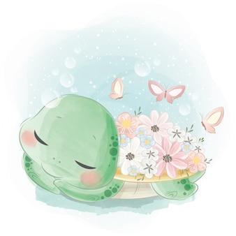 Linda tortuga con flores en su cuerpo