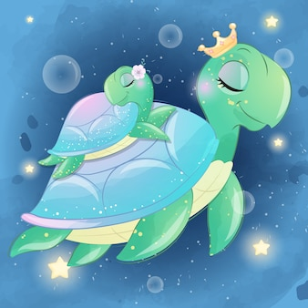 Linda tortuga marina madre y bebé