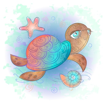 Linda tortuga marina. mundo marino. acuarela.