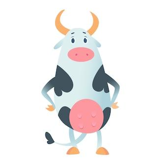 Linda vaca en estilo plano aislado sobre fondo blanco