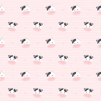 Linda vaca sin fisuras patrón repetitivo, fondo de pantalla, lindo fondo transparente