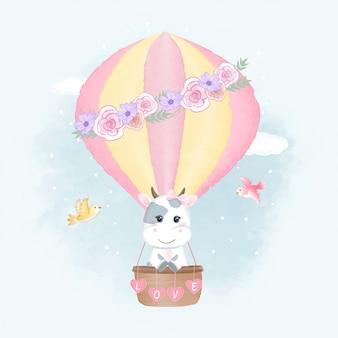 Linda vaca en globo aerostático y pájaros acuarela ilustración
