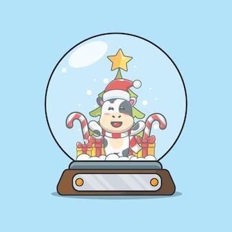 Linda vaca en globo de nieve linda ilustración de dibujos animados de navidad