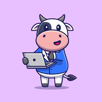 Linda vaca trabajando en la computadora portátil. tecnología animal