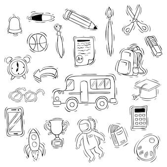 Linda vuelta a la colección de iconos de la escuela con estilo doodle