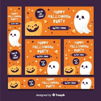 Linda web de banner de halloween naranja