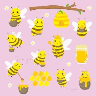 Lindas abejas voladoras y elementos de miel establecidos.