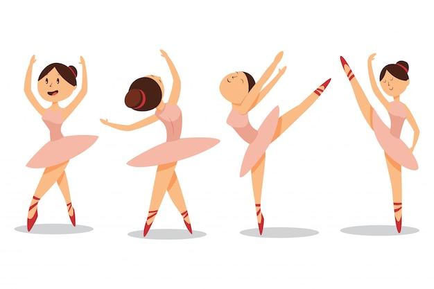 Lindas bailarinas bailan en zapatillas de ballet y tutú rosa. conjunto de caracteres de niña de dibujos animados de vector aislado