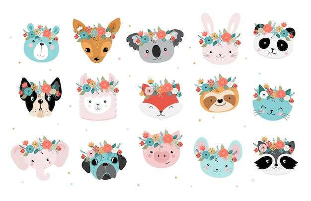 Lindas cabezas de animales con corona de flores.