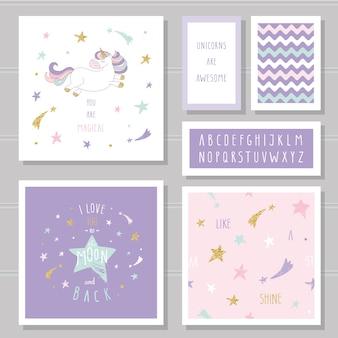 Lindas cartas con unicornio y estrellas doradas