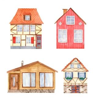 Lindas casas en estilo acuarela