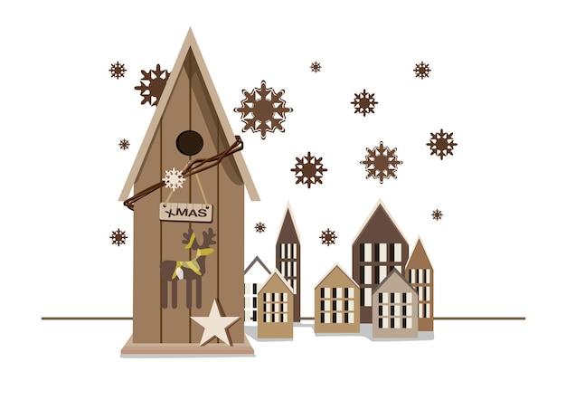 Lindas casas rústicas de navidad con estrella de ciervo y copos de nieve.