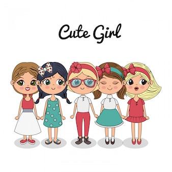 Lindas chicas grupo de pie amigos de moda
