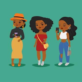 Lindas chicas de piel negra oscura con varios estilos de moda
