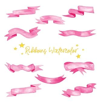 Lindas cintas rosas en ilustración acuarela
