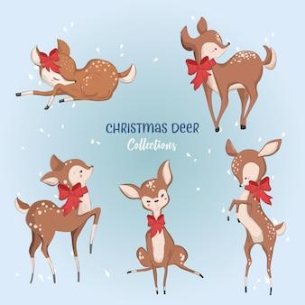 Lindas colecciones de ciervos de navidad