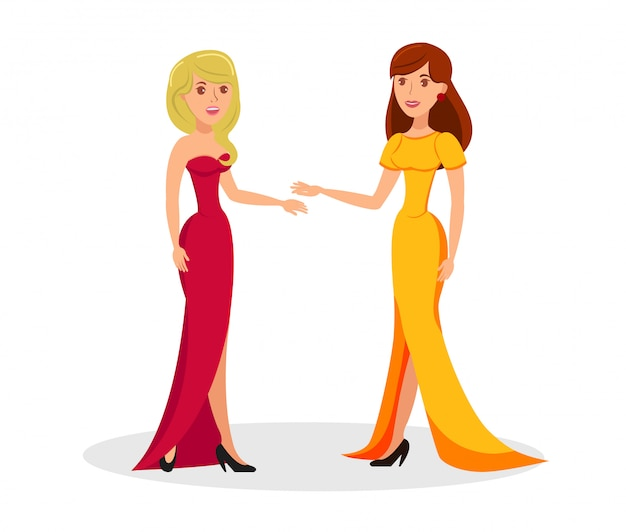 Lindas damas en trajes elegantes personajes de dibujos animados