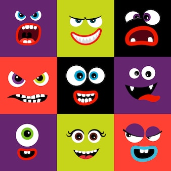 Lindas y divertidas caras de monstruos de colores en forma cuadrada