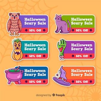 Lindas etiquetas de halloween con decoraciones