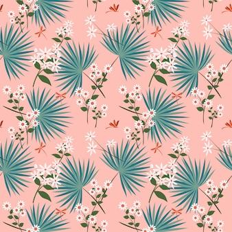Lindas flores blancas con hojas tropicales en patrones sin fisuras en colores pastel