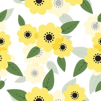 Lindas flores florecientes de patrones sin fisuras