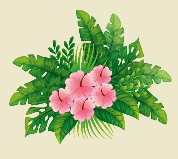 Lindas flores rosadas con hojas tropicales