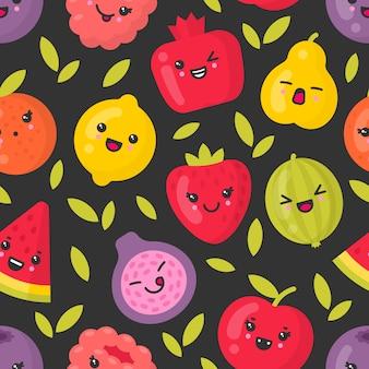 Lindas frutas sonrientes, patrón transparente de vector sobre fondo oscuro