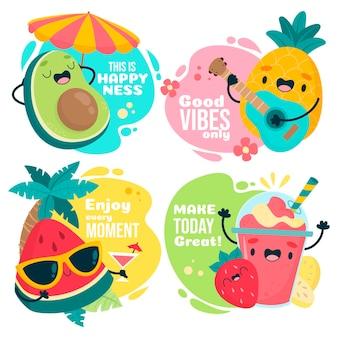 Lindas frutas de verano con conjunto de texto motivacional