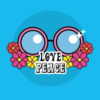 Lindas gafas hippie con flores y mensaje