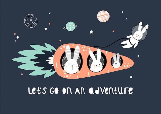 Lindas liebres en un cohete de zanahoria en el espacio