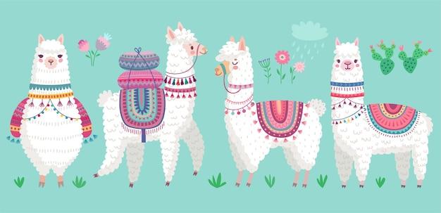 Lindas llamas divertidos personajes de alpaca dibujados a mano