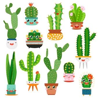 Lindas macetas de cactus. dibujos animados de cara feliz cactus suculentos flor divertida sonrisa planta encantadores amigos, cactus del jardín del desierto