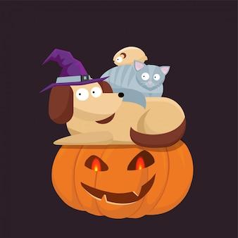 Lindas mascotas de halloween, gato, hámster y perro con un sombrero de bruja sentados el uno al otro y una calabaza de halloween con caras asustadas. ilustración de estilo de dibujos animados plana.