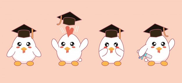 Lindas mascotas kawaii pollos con sombreros de graduación y diplomas