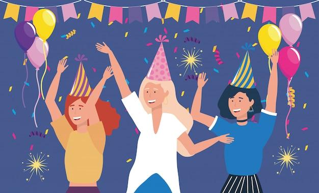 Lindas mujeres en fiesta con globos.