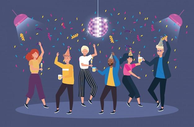 Lindas mujeres y hombres bailando con decoración de confeti.