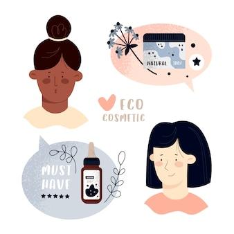 Lindas mujeres jóvenes y productos cosméticos orgánicos naturales en botellas, frascos y tubos para el cuidado de la piel.
