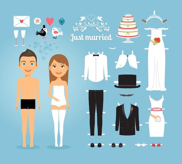 Lindas muñecas de papel de pareja de recién casados con un conjunto de artículos de boda sobre fondo azul cielo