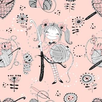 Lindas niñas tejedoras de ganchillo de aguja. patrón sin costuras.