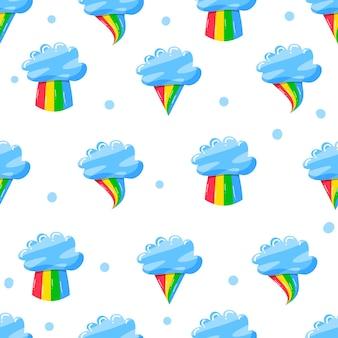 Lindas nubes con arco iris en patrón plano dibujado a mano